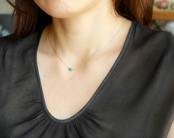Turquoise Necklace, Gold Layering Necklace, Dainty Gold Necklace, Tiny Turquoise Necklace