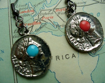 Greek Coin with Turquoise and Coral Stone Accent Earrings