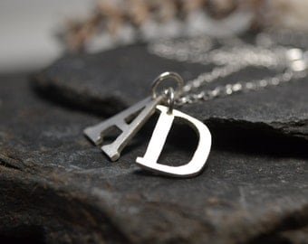 Sterling silver handcut letter pendant necklace