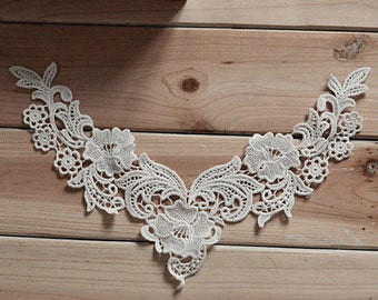 White Floral Lace Trim Appliques Gothic Trim Embroidery Hollowed Out Trim Collar Flower 1pcs K017