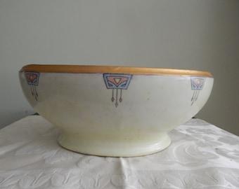 Art Nouveau Bowl c 1900 Gold Iridescent Hand-Painted
