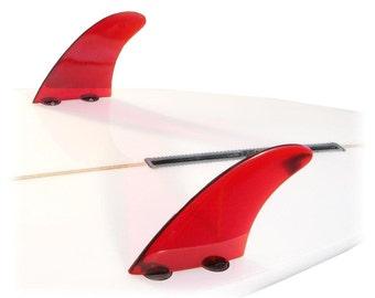DG5 Surfboard/Longboard Side/Trailer Fin Sets (2) Red FCS Base by DORSAL
