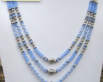 Blue Chalcedony Faceted 3 Line Necklace