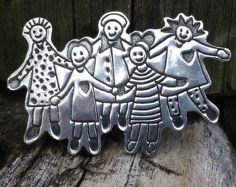 Handmade, Vintage Brooch, Sterling Silver, Family of Five, Mexican Artist EFS, Stamped Mexico, 925