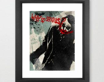 "JOKER ""Why So Serious"" poster - Movie Poster, Comic book, Movie Joker, Minimalist Joker, Print Wall Decor, Art print, Wall art, Decor"