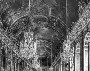Paris Photography, Versailles, Hall of Mirrors, Black and White, French Wall Art, Paris Decor, Architecture,