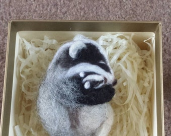 Miniature needle felted badger and her baby