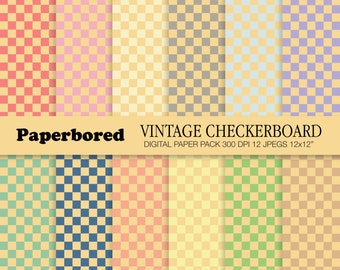 VINTAGE CHECKERBOARD Digital Paper Pack, Checkerboard Pattern Papers In Vintage Colours / Instant Download