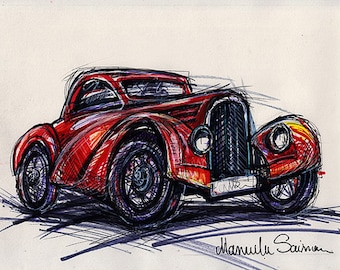 Classic Car Sketch Old Bugatti  Wall Art Old Car Drawing Bugatti Gift for Men Red Car Vintage Car Drawing Fine Art Print Custom Car Drawing