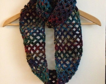 Multicolored lacy infinity scarf