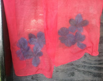 Shear Red Scarf- hand painted