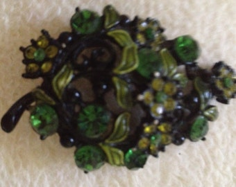 Vintage Green Rhinestone and Enamel Leaf Brooch Pin