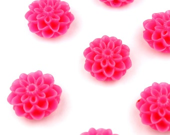 Flower Cabochons 15mm - Hot Pink Flower Resin Cabochons A1000029