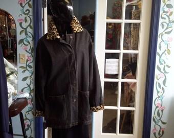 Braefair denim jacket large womens leopard lining vintage 1980
