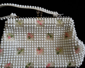 Grandee white beaded and floral purse vintage 1970 handbag for women mad men
