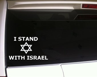 "I Stand With Israel Car Decal Vinyl Sticker 6"" Patriotic Support Israel Jewish"