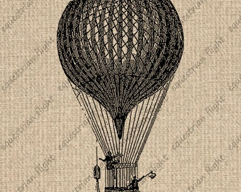 INSTANT DOWNLOAD Antique Balloon Illustration Vintage Balloon Digital Sheet Download Iron On Transfer 300dpi HQ