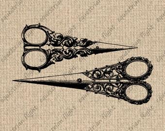 INSTANT DOWNLOAD Antique Scissors Image Vintage Scissors Illustration  Digital Sheet Download Iron On Transfer 300dpi HQ