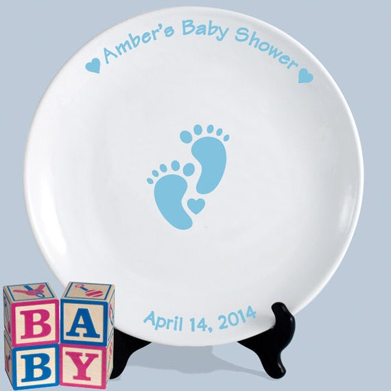 Baby shower guest book signature platter blue baby feet 13 inch round