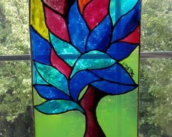 Three of  lIfe handpainted glass suncatcher