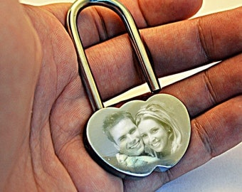 Photo & Text Engraved Locked In Love Chrome Padlock Anniversary Romantic Gift