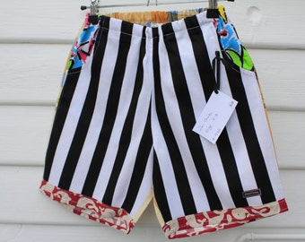 boys size 7 size 8 shorts, one of a kind, bright, beach, boho, funky, cotton shorts with elastic waist and pockets