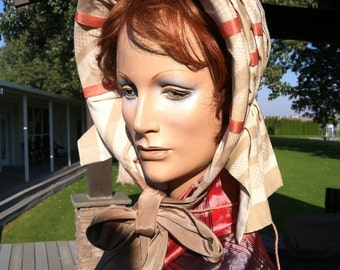 Victorian 1860s Tan Silk Stripe Bonnet Reproduction