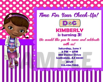 Doc McStuffins Invitation - Doctor Printable Invitation - Digital Invite - Birthday Party - Girl Birthday Party Ideas