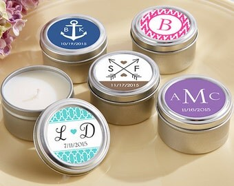 SET of 12+ Personalized Candle Favors - Personalized Wedding Favors - Personalized Favors - Rustic Wedding Favor Ideas - Bridal Shower Favor