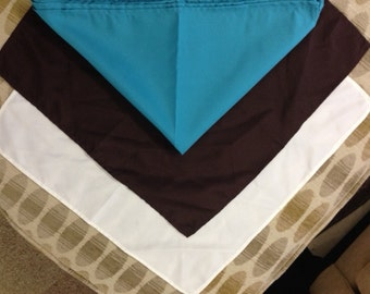 """20"""" Square Cloth Napkins- Ivory, Brown & Teal Blue"""