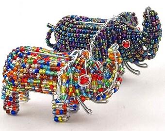 African Fair Trade Mini Beaded Elephants