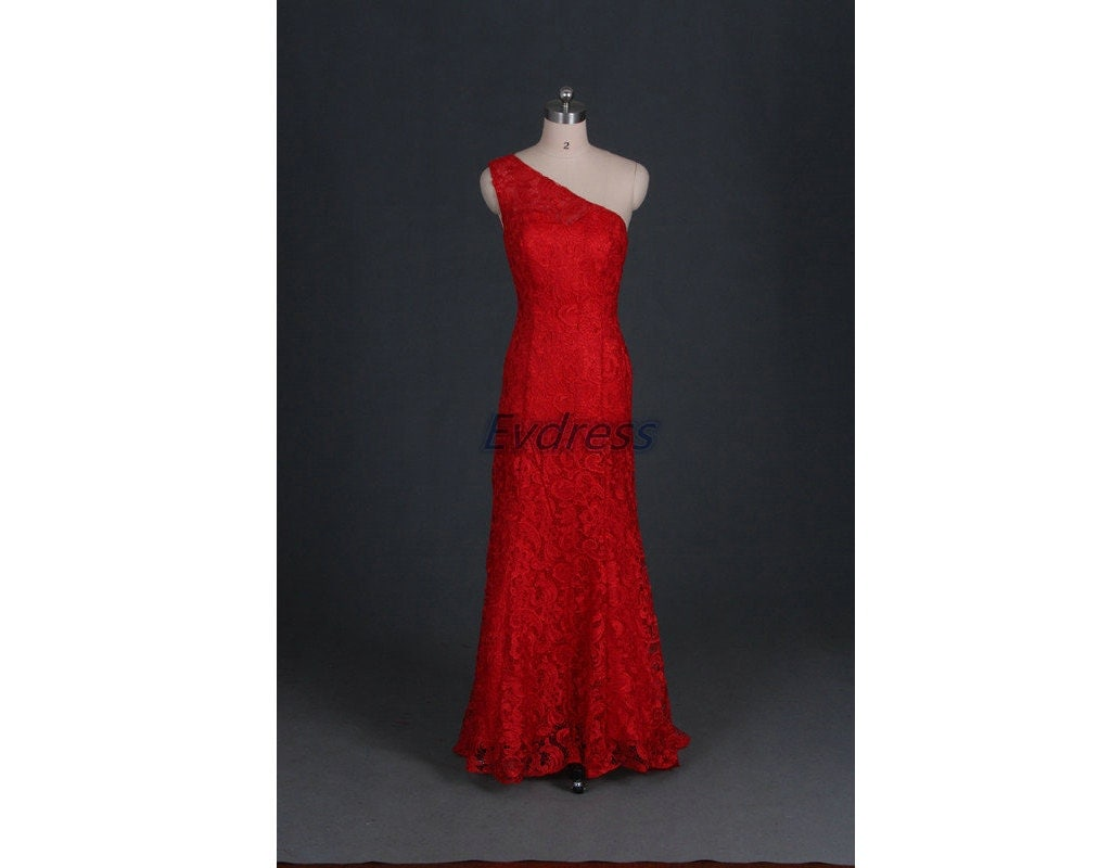 Long Red Lace Wedding Dresses Hotchic e Shoulder By