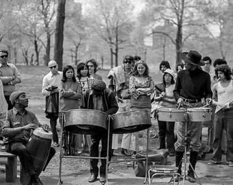 Vintage Black and White Photography Fine Art Print, Drummers In Central Park