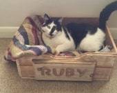 Beautiful Handmade Wooden  Personalised Pet Bed Cat - Dog  -  Rustic - Vintage Style - Traditional - Shabby Chic - Unique - Free P & P
