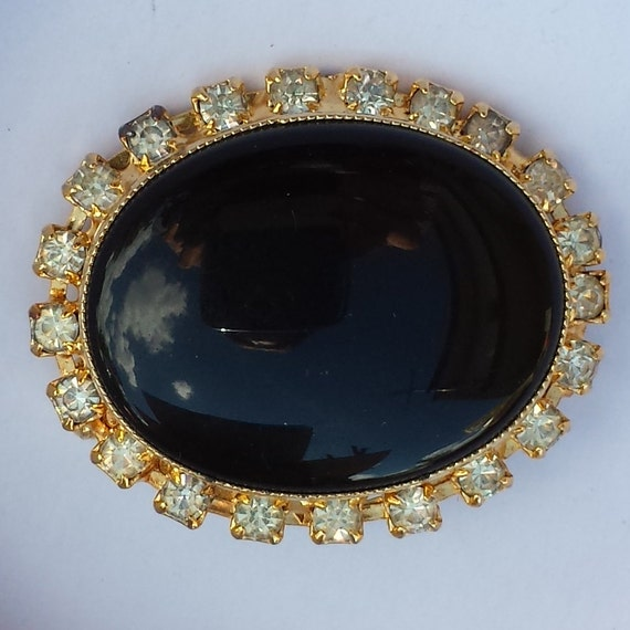 items similar to brooch vintage black and shiny stone