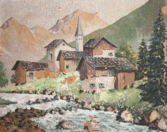 European art oil painting landscape 1950's