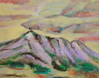 Expressionist oil painting landscape mountain