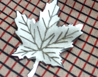Sterling Maple Leaf Pin Brooch