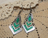 Sterling Silver and Crushed Malachite Earrings - Vintage Jewelry