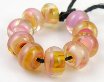 Laurasia Swirls Made to Order SRA Lampwork Handmade Artisan Glass Spacer Beads Set of 10 5x9mm