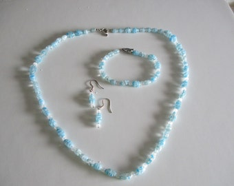 Delicate light blue necklace, bracelet & earring set