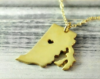 I  heart  Rhode Island  Necklace Rhode Island  pendant 18K gold plated state necklace state pendant map pendant hammered state necklace