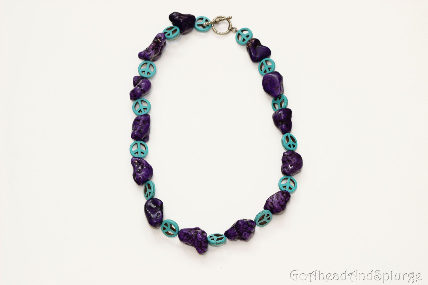 purple and turquoise peace sign necklace by goaheadandsplurge