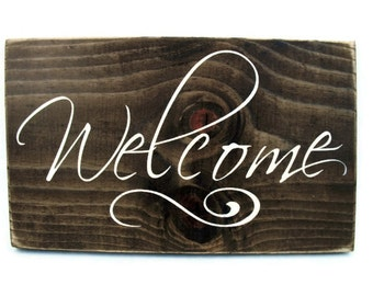 Welcome Sign Rustic Wood Wall Decor (#1058)