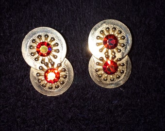 Vintage, Lovely, Orange Rhinestone, Clip On EARRINGS