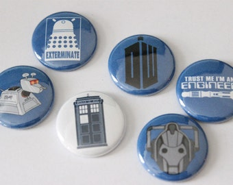 "1"" Dr Who Pin/Magnet Badge (set of 6)"