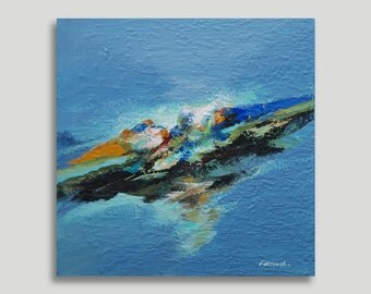 Abstract Painting Blue, Brown, Yellow