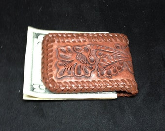 Hand tooled magnetic money clip with floral pattern