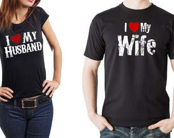 Couple Anniversary T-shirts Couple Tees  I love my Wife I love my Husband Anniversary gift for couple