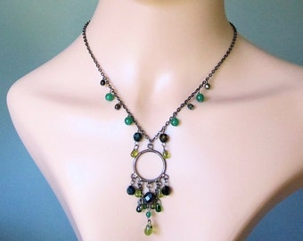 Vintage, Retro Earrings and necklace, dark silver plated and glass beads.